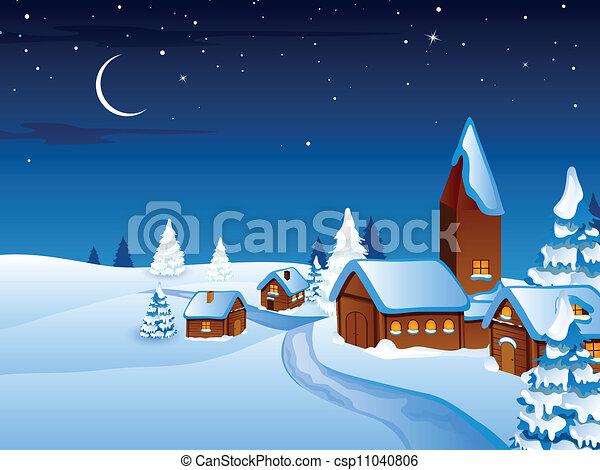 村, ベクトル, クリスマス, 夜 - csp11040806