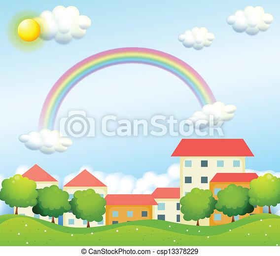 村, 丘, 平和である - csp13378229