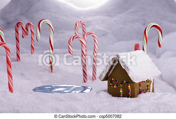 杖, キャンデー, 森林, コテッジ, 池, クリスマス - csp5007082