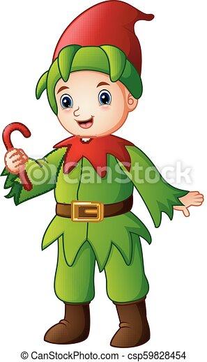 杖, 妖精, キャンデー, クリスマス, 保有物, 漫画 - csp59828454
