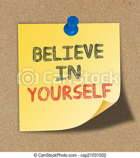 板, メモ, くぎ付けにされた, コルク, 信じなさい, 黄色, あなた自身, 書かれた - csp21031502