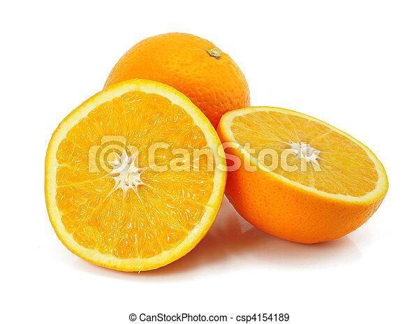 柑橘類, オレンジ, 白, フルーツ, 隔離された - csp4154189