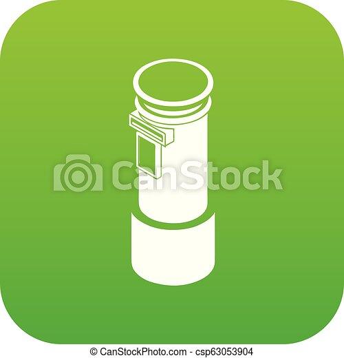 柱, ベクトル, 緑, 郵便, アイコン - csp63053904