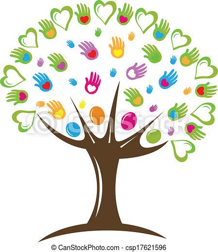 符号, 树, 矢量, 设计, 手, 心