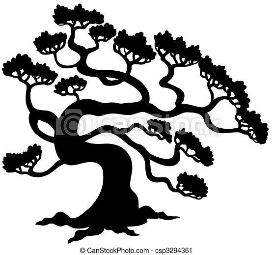 侧面影象, illustration., -, 树, 松树, 矢量