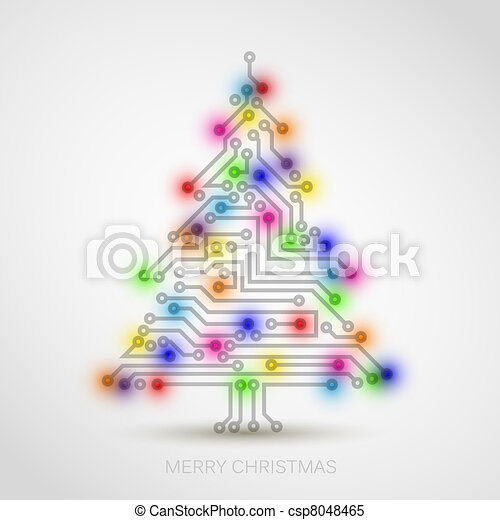 树, 矢量, 电路, 数字, 电子, 圣诞节 - csp8048465