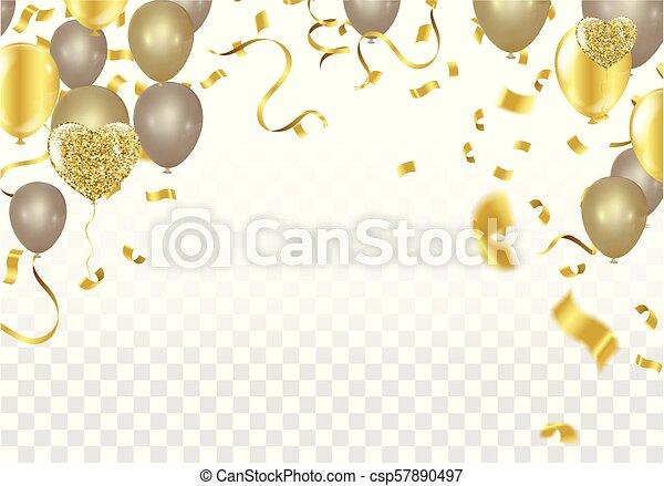 株, 金, checkered, お祝い, きらめき, 隔離された, イラスト, 現実的, バックグラウンド。, ベクトル, 紙ふぶき, 休日, 透明, 焦点がぼけている - csp57890497