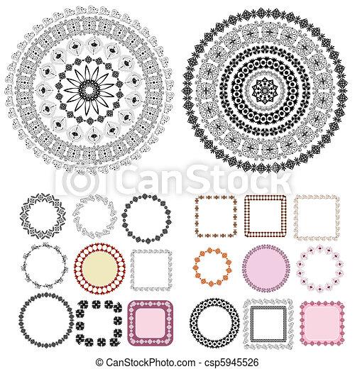 框架, 圖樣, 集合, 蔓藤花紋, 輪 - csp5945526