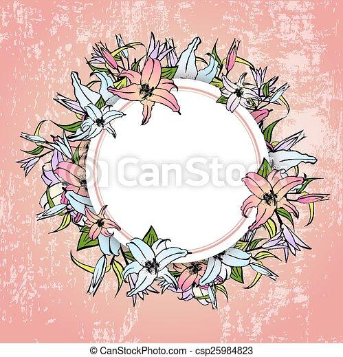 框架, 花, 百合花, 輪 - csp25984823