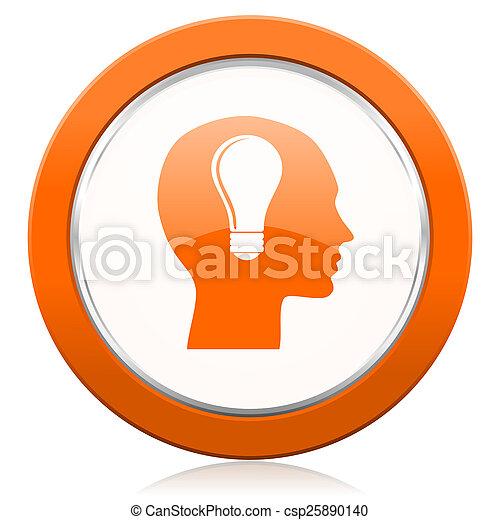 桔子, 头, 图标, 人类, 签署 - csp25890140