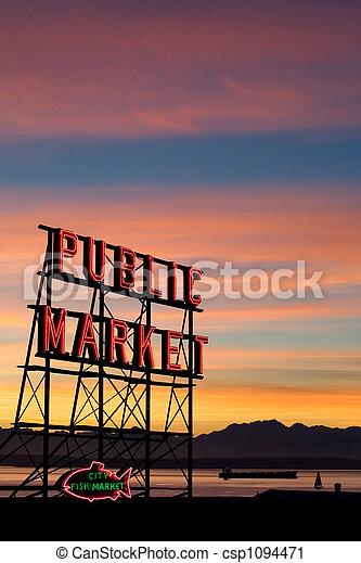 梭子魚, seattle, 地方, 市場 - csp1094471