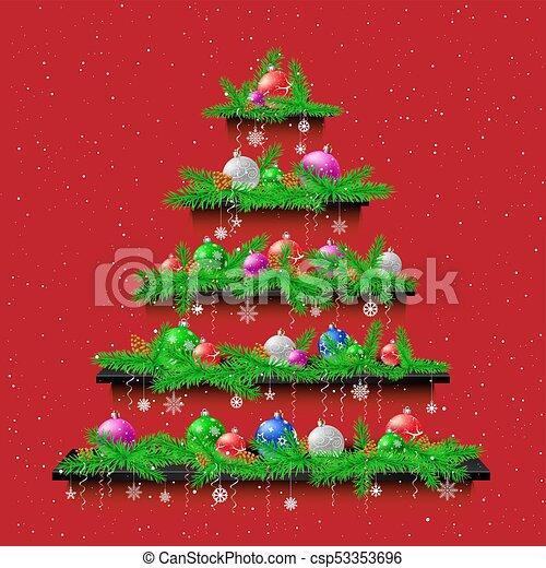棚, 木, クリスマス, 背景, 赤 - csp53353696
