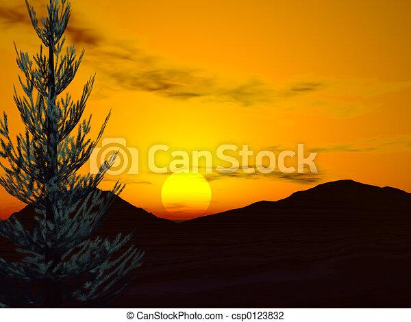 森林, 日出 - csp0123832