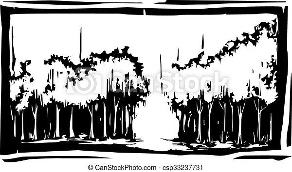 森林, 木刻 - csp33237731