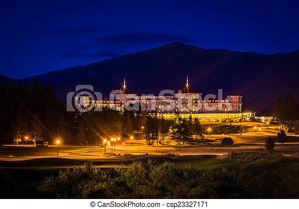 森, h, 山, ホテル, ワシントン, bretton, 夜, 新しい, 光景 - csp23327171