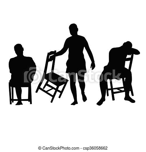 椅子 シルエット イラスト 人 シルエット 色 イラスト 黒 椅子 人