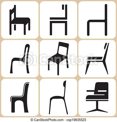 椅子, セット, アイコン - csp19635523