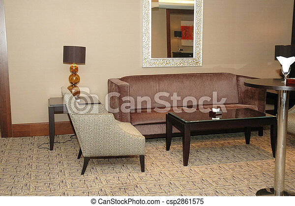 椅子, ソファー, ホテルのロビー - csp2861575