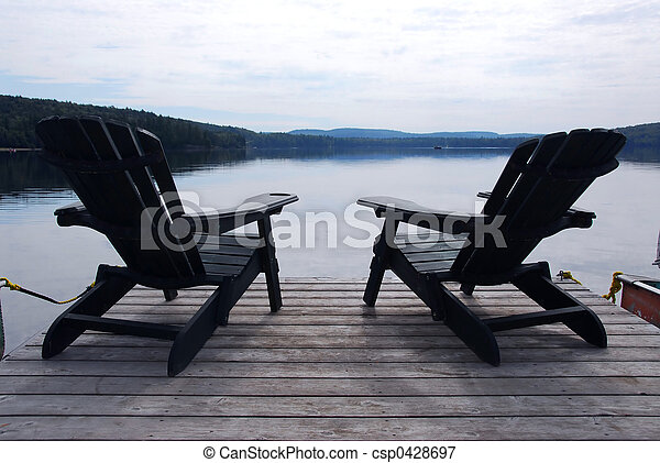 椅子, 湖 - csp0428697