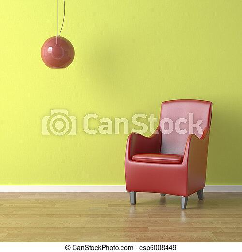 椅子, 緑の赤 - csp6008449