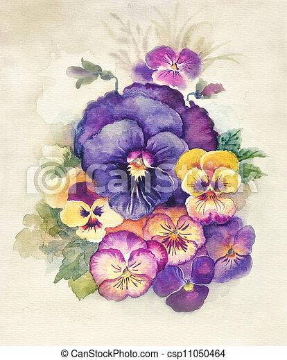 植物相, 水彩画, collection:, ビオラ - csp11050464