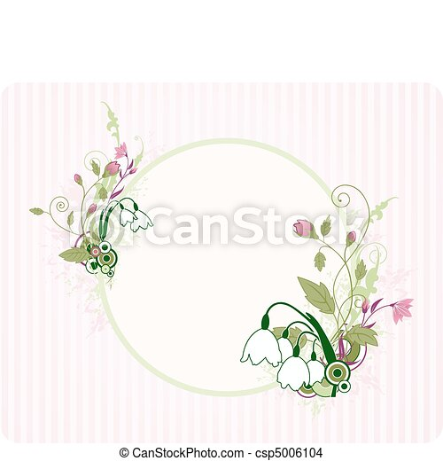 植物群的旗幟, 裝飾品, 輪 - csp5006104