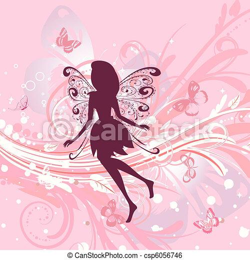 植物群, 女孩, 仙女, 浪漫, 背景 - csp6056746