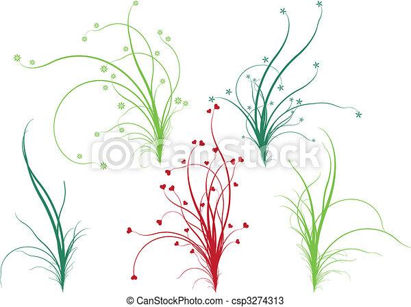 植物群, 草, 矢量 - csp3274313