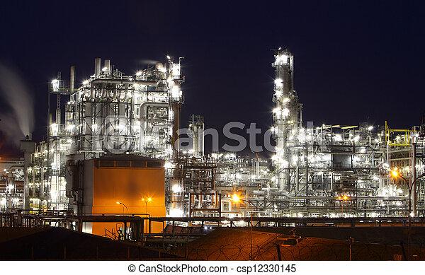 植物, オイル, ガス, 産業, -, 工場, 精製所, 石油化学, たそがれ - csp12330145