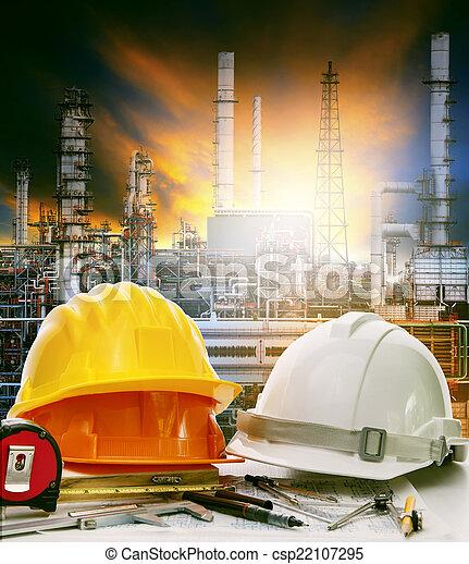 植物, オイル, 仕事, 産業, 使用, 精製所, テーブル, エンジニア - csp22107295