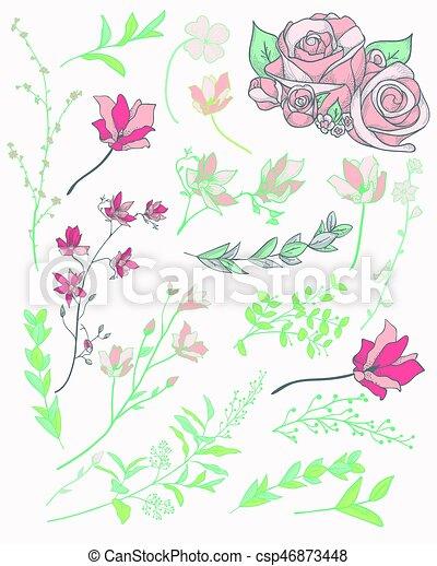 植物 カラフルである イラスト Flowers ベクトル ハーブ 引かれる