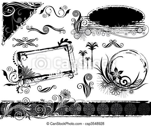 植物, セット, 装飾 - csp3548928