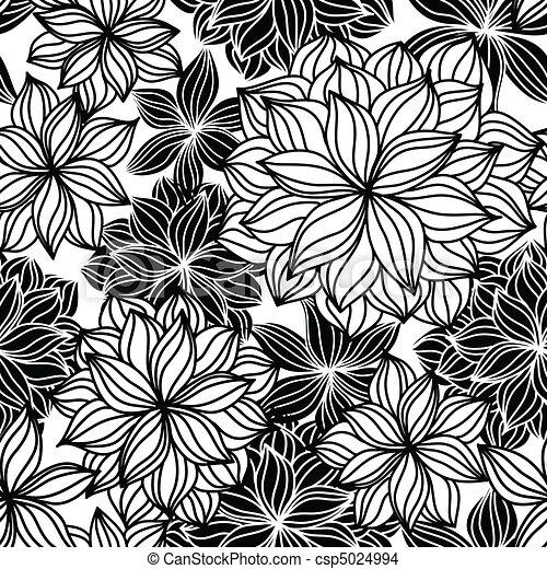 植物, 心不在焉地亂寫亂畫, seamless, 圖案 - csp5024994
