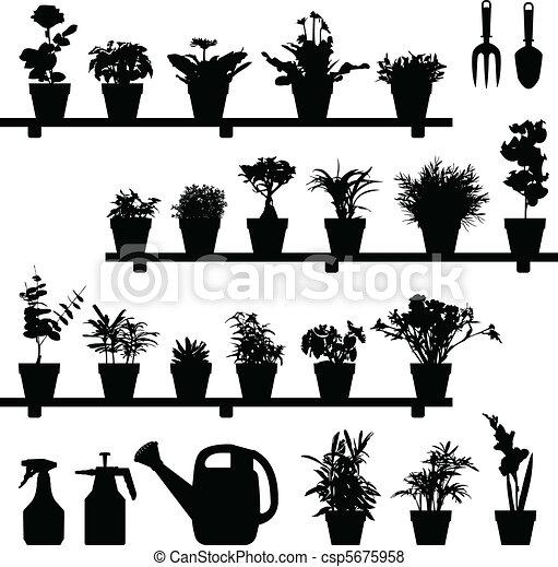 植物, 花, シルエット, ポット - csp5675958