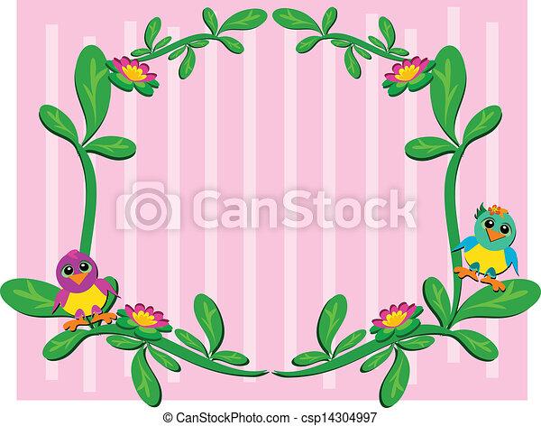 植物, 赤ん坊, フレーム, 鳥 - csp14304997