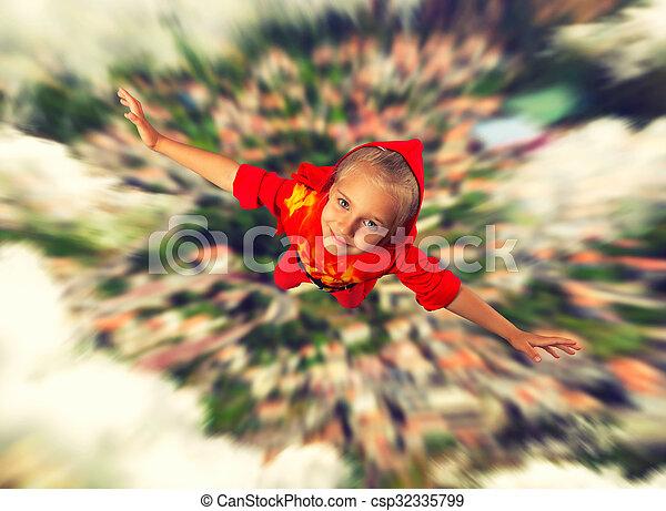 極度, 女の子, 飛行, 英雄 - csp32335799