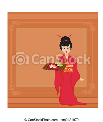 楽しみなさい, 女の子, 寿司, アジア人 - csp9431979