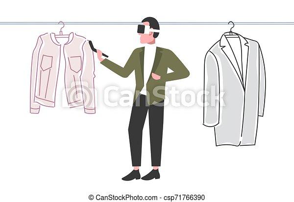 概念, によって, 選択, 技術, ヘッドホン, バーチャルリアリティ, 保有物, オンラインで, 3d, 身に着けていること, 平ら, フルである, 買い物, デジタル, コントローラー, 横, 人, 経験, 衣服, 長さ, 人, augmented, ガラス - csp71766390