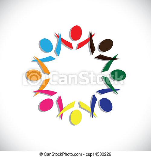 概念, のように, カラフルである, 人々, graphic-, &, 労働者, イラスト, 共用体, 情事, 共有, ベクトル, icons(symbols)., 概念, 楽しみ, パーティー, 遊び, 友情, 多様性, ショー - csp14500226