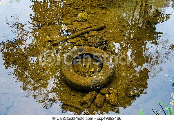 概念, エコロジー, 古い, 水, tyre - csp49692466