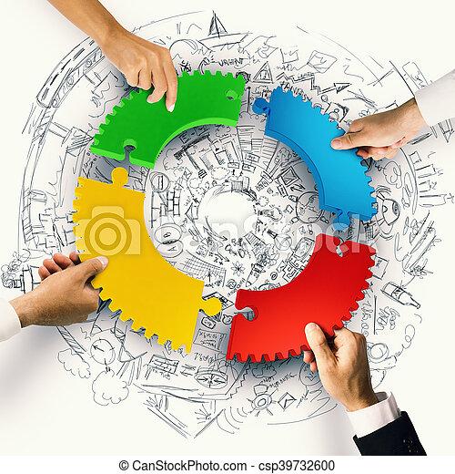 概念, ギヤ, 困惑, 統合, 小片, レンダリング, チームワーク, 3d - csp39732600