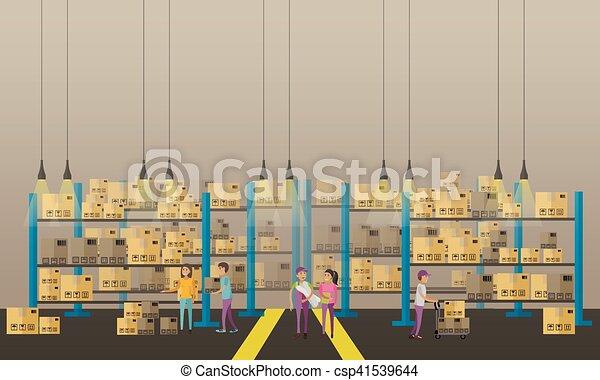 概念, サービス, banner., イラスト, 出産, ベクトル, ロジスティックである, interior., 倉庫 - csp41539644
