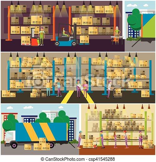 概念, サービス, banner., イラスト, 出産, ベクトル, ロジスティックである, interior., 倉庫 - csp41545288