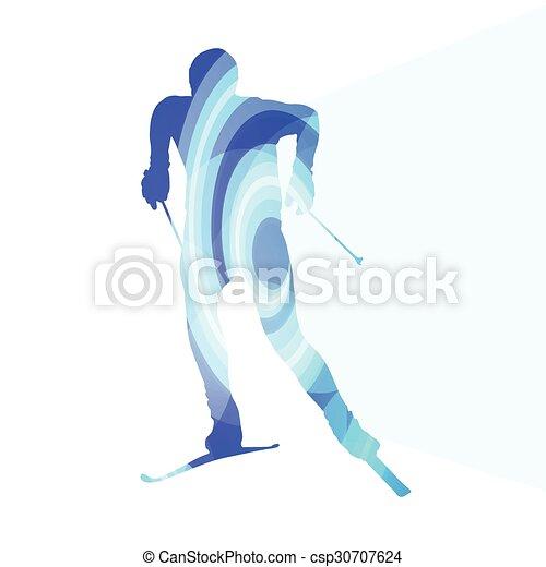 概念 シルエット カラフルである イラスト 背景 スキー 人 概念