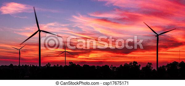概念, シルエット, 夕闇, エネルギー, きれいにしなさい, タービン, 風 - csp17675171