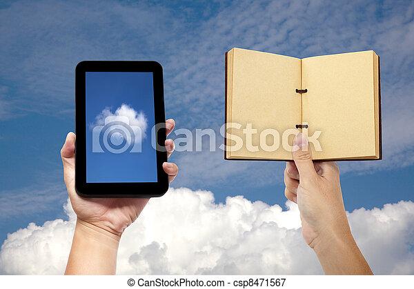 概念, タブレット, 計算, 手, pc, 本, 保有物, 雲 - csp8471567