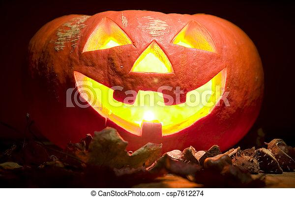 概念, ハロウィーン, creepy, 口, ろうそく, カボチャ - csp7612274
