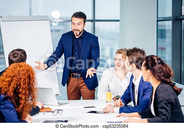 概念, ビジネス, オフィス。, コーチ, 上司, 仕事, training., 教育, リーダー - csp53235084