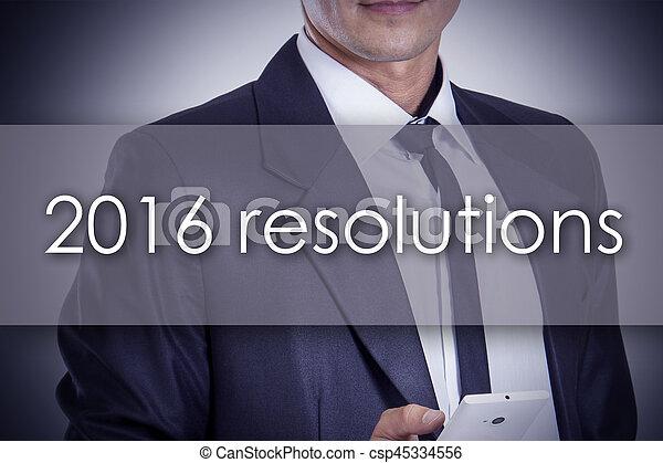 概念, ビジネス, テキスト, -, 若い, ビジネスマン, resolutions, 2016 - csp45334556
