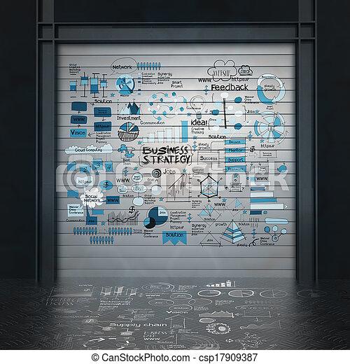 概念, ビジネス, 手ざわり, 作戦, 暗い背景, 引かれる, 手 - csp17909387